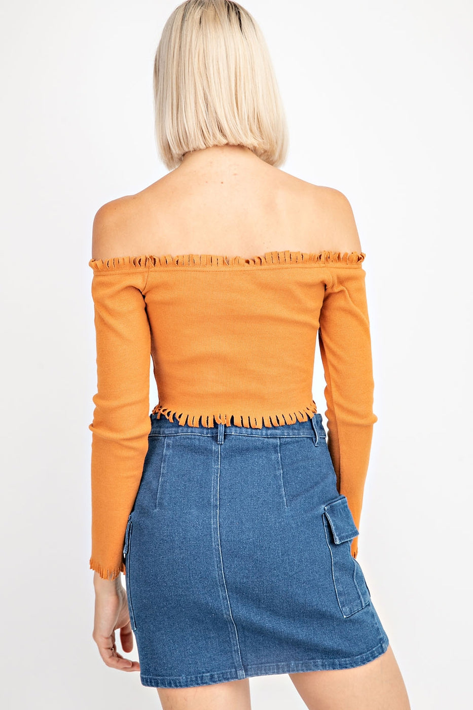 Off Shoulder Long Sleeve Crop Top With Frayed Hem And Neck Slit Siin Bees