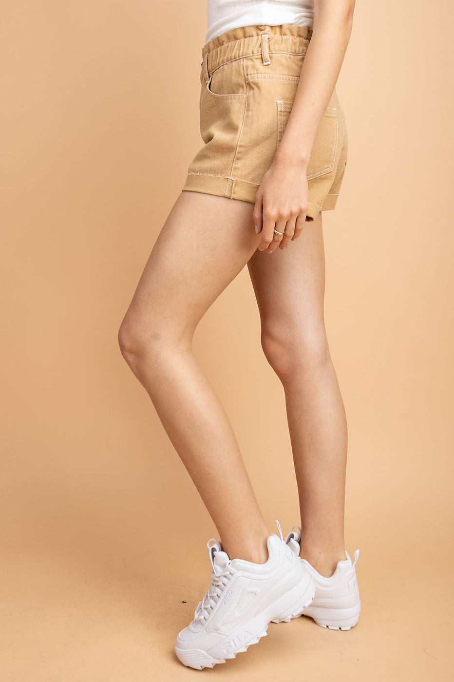 Shorts with Folded Hem Detail And Waist Band Siin Bees