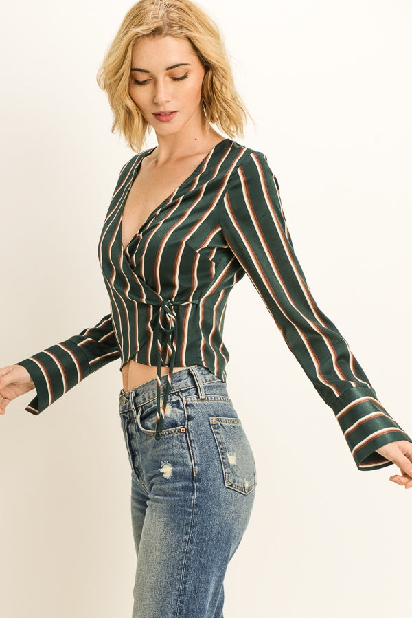 Satin Striped Wrap Top Siin Bees