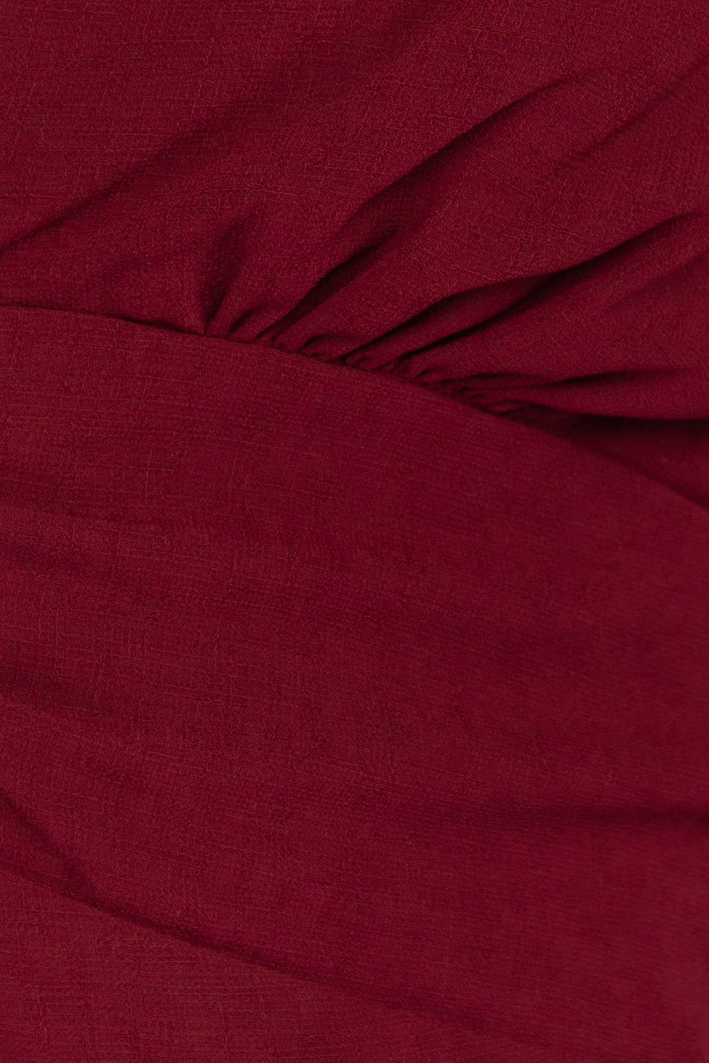 Scarlett Shirring Detail Short Sleeve A Line Dress In Burgundy Siin Bees