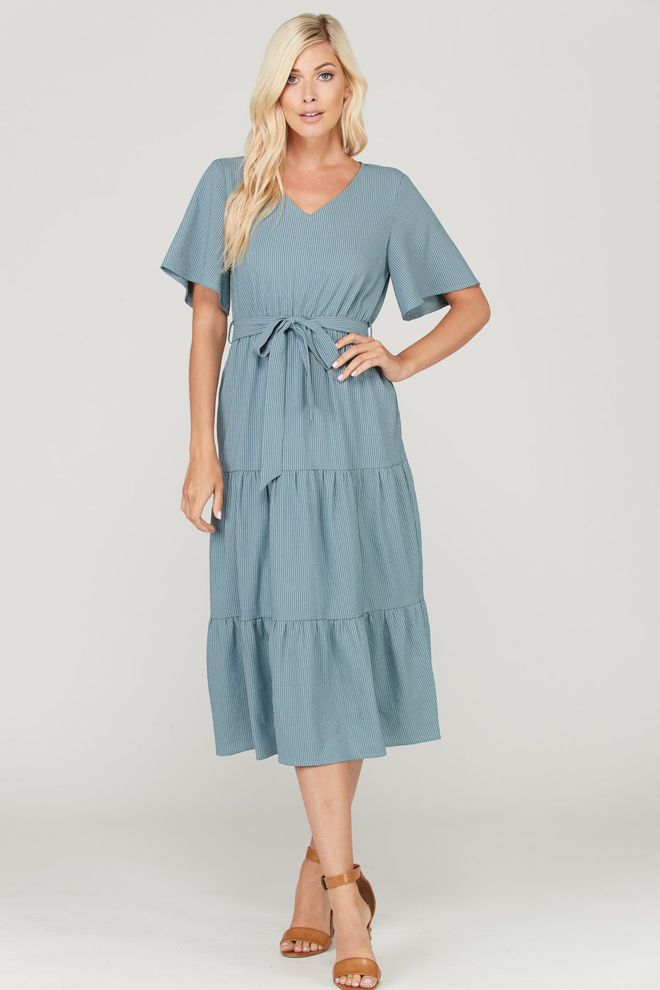 Camille Grey/Blue Midi Layered Dress With Waist Tie Siin Bees