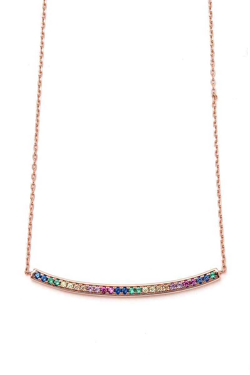 Elegant Sterling Silver Rainbow Bar Necklace - Siin Bees