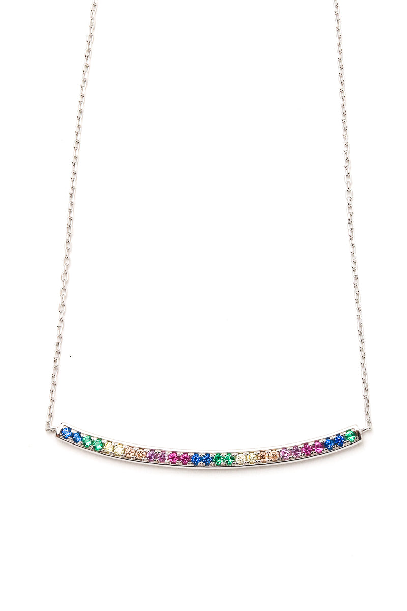 Elegant Sterling Silver Rainbow Bar Necklace Siin Bees