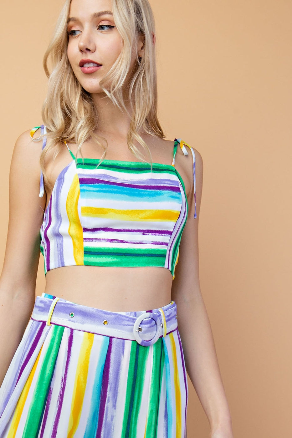 Viscose Multi Stripe Cropped Top With Back Buckle In Green Multi Siin Bees