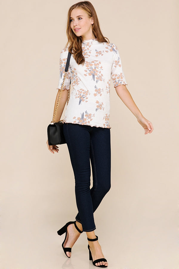 Lovely Quarter Sleeves Top Floral Merrow Detail In Ivory Siin Bees