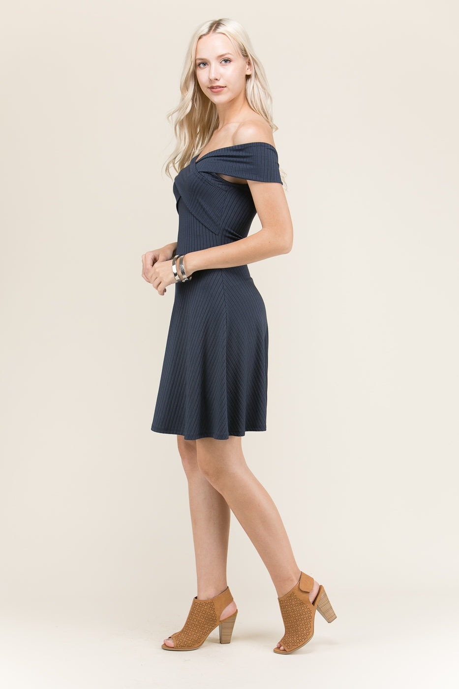 Isabelle Off Shoulder Mini Dress In Navy With Solid Cross Detail Siin Bees