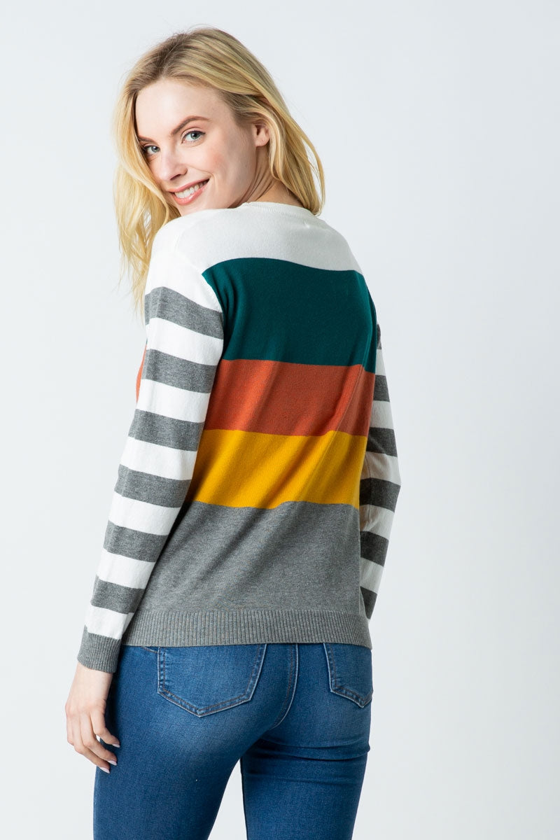 Winter Drop Shoulder Multi Color Block Sweater Siin Bees