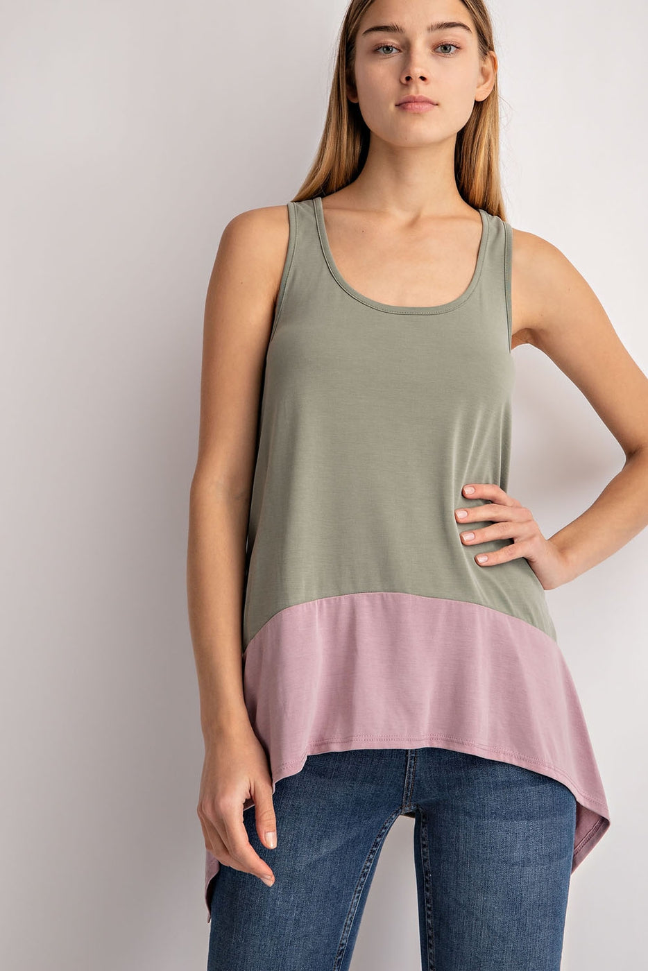 Color Block Tank Top In Olive-Baby Pink Siin Bees