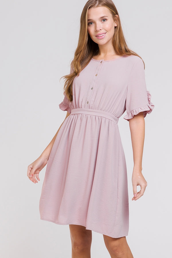 Lily Mauve Dress Ruffle Short Sleeve Button Up Siin Bees