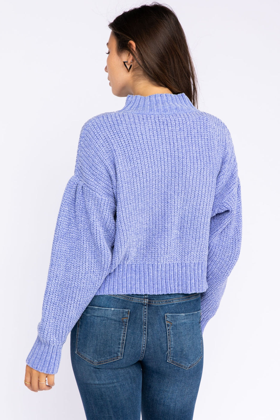 Chenille Mock Neck Drop Shoulder Sweater In Lavender Blue Siin Bees