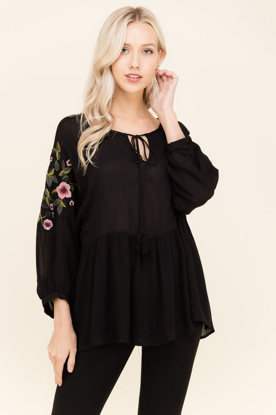 Black Embroidered Sleeve Top With Keyhole Tassels Siin Bees