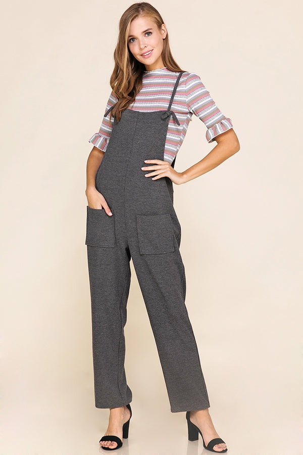 Jayde Overalls Stretch Knit In Charcoal Siin Bees