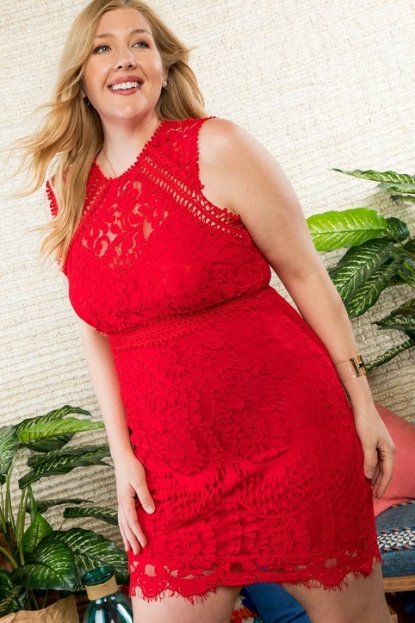 Khloe Red Crochet lace Dress Siin Bees
