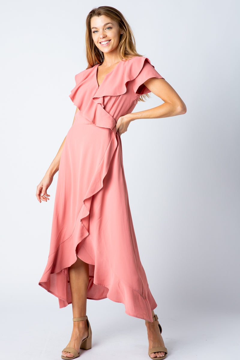 Dylan Midi Dress High Low Ruffled Detail Siin Bees