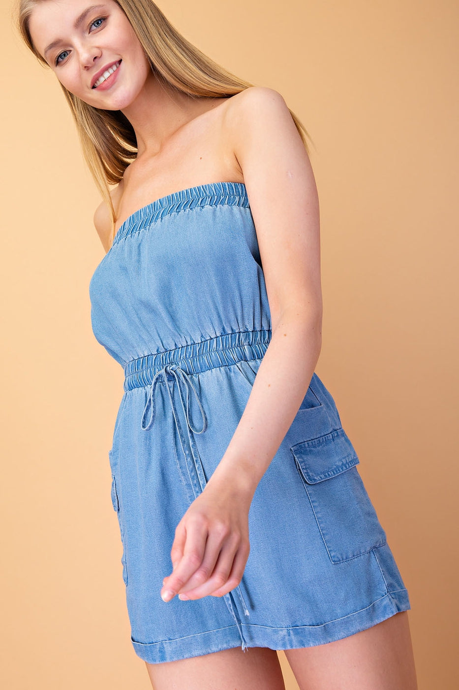 Athena Romper With Elastic Waist Tencel Tube In Denim Blue Siin Bees