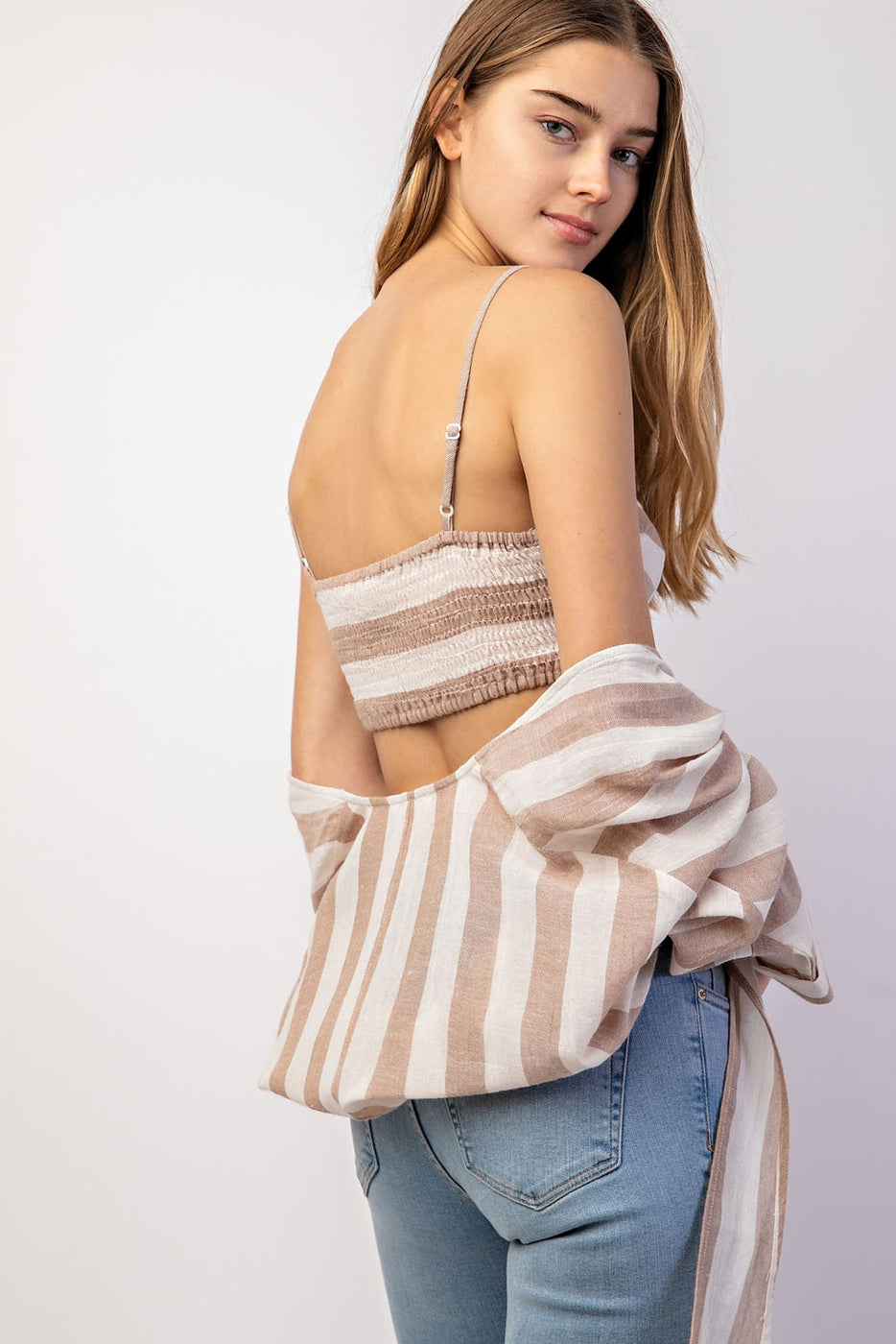 Striped Tank Top With Key Hole Detail Siin Bees