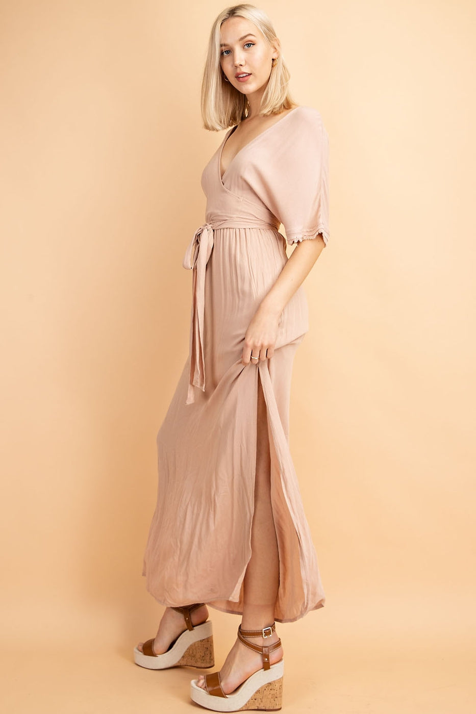 Front Tie Deep V Neck Half Sleeve Maxi Dress In Mauve - Siin Bees