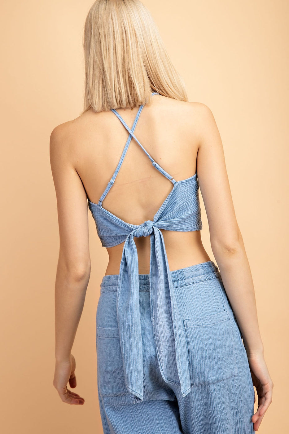 Crop Top With Back Tie Halter In Light Blue - Siin Bees