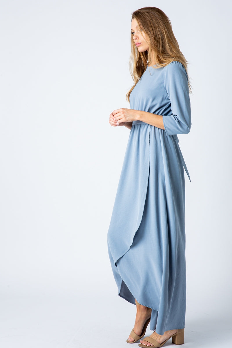 Sloane Long Sleeve Solid Maxi Dress With High Low In Blue Siin Bees