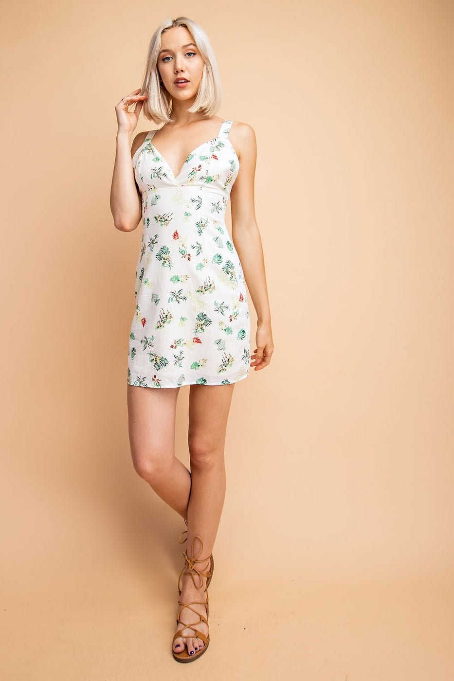 Layla Mini Dress With Tropical Print - Siin Bees