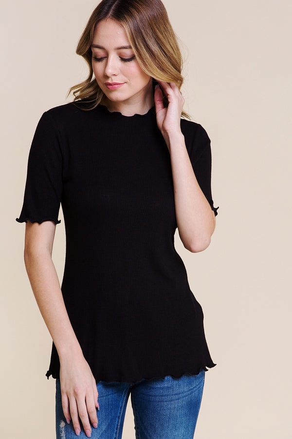 Charming Mock Neck Top With Merrow Hem In Black Siin Bees