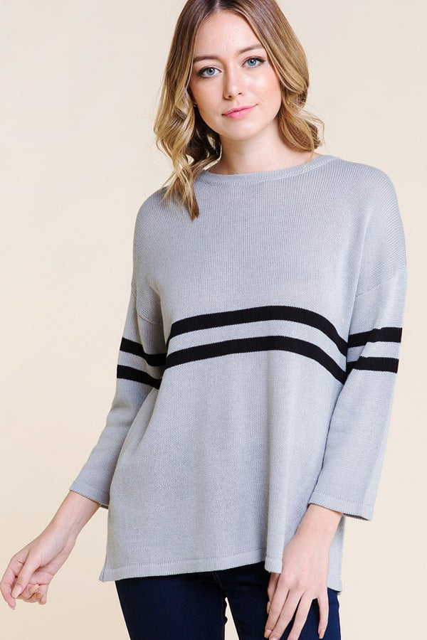 Lovely Long Sleeve Double Stripe Sweater In Grey Siin Bees