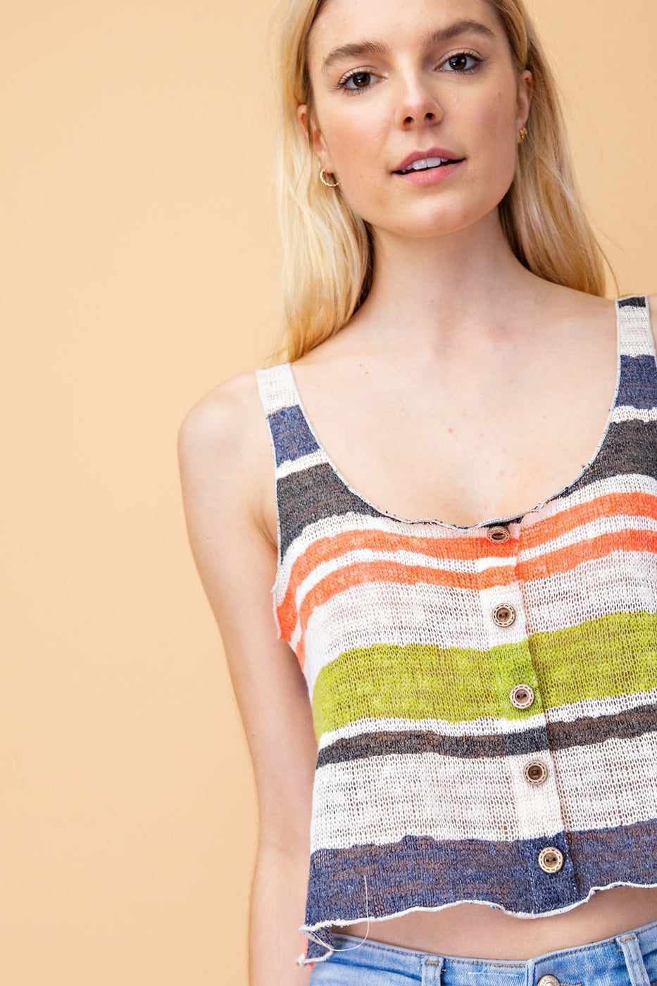 Multi Stripe Knit Top With Fabric Sleeveless Siin Bees