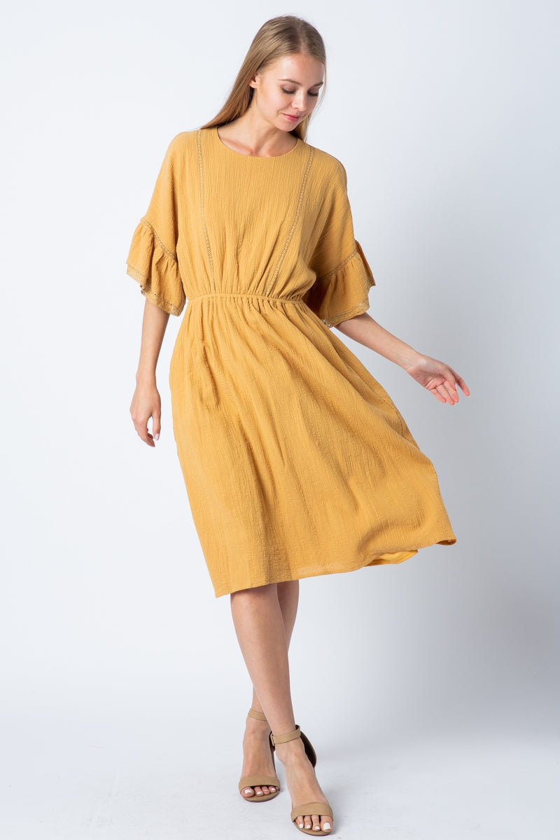 Kennedy Drop Shoulder Dress With Ruffle Sleeve Siin Bees