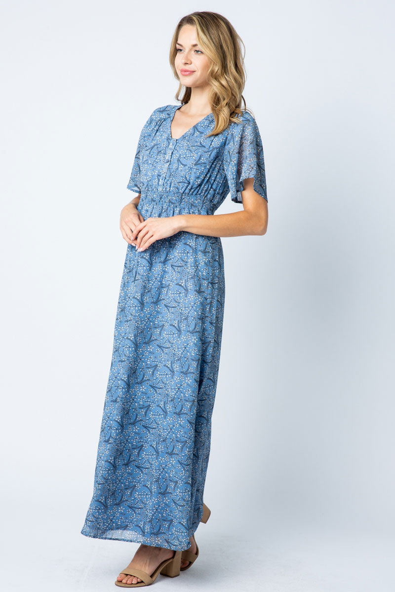 Bella Blue Maxi Dress With Peal Button Detail Siin Bees