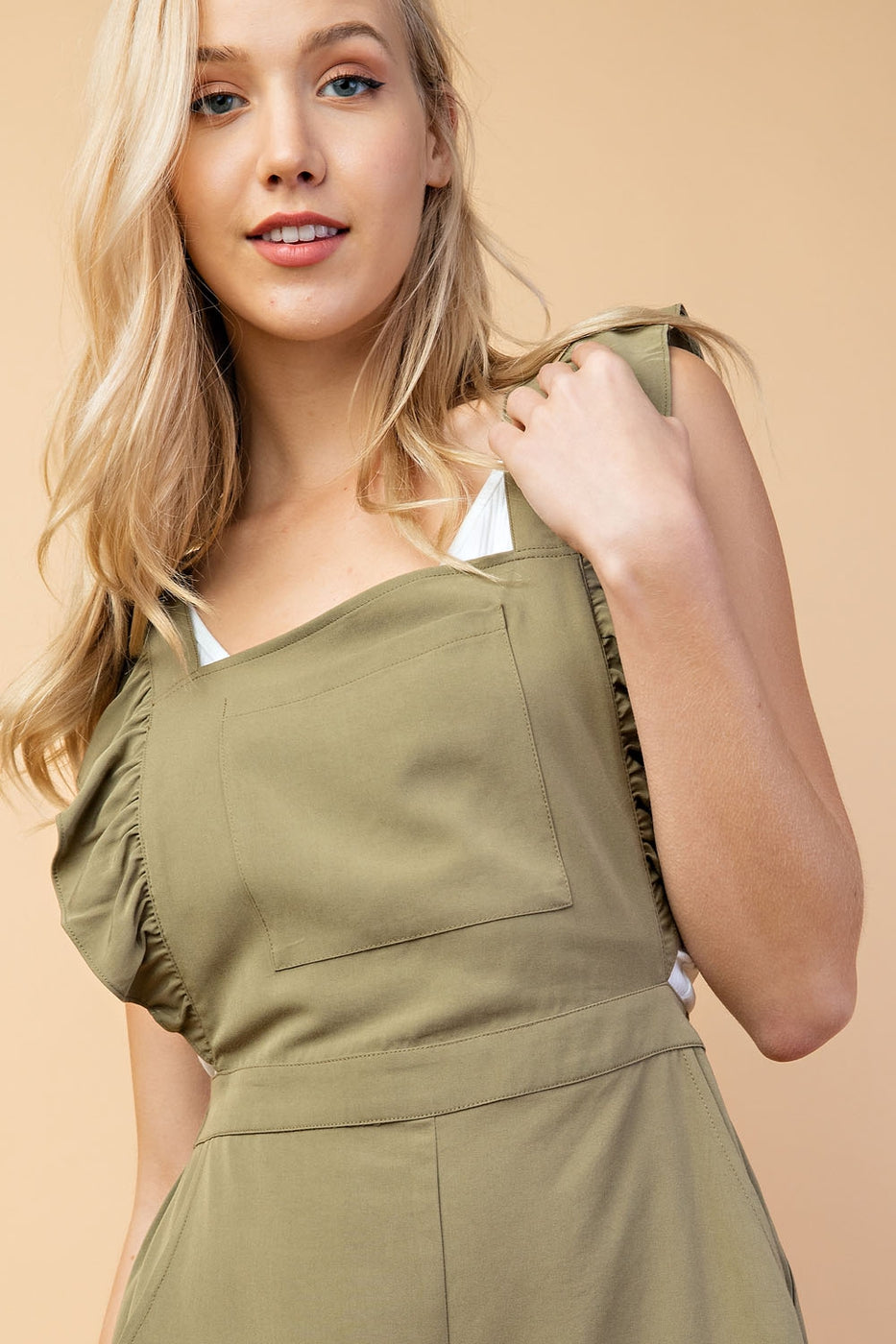 Tencel Overalls With Ruffle Detail Siin Bees