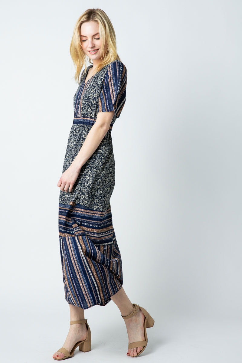 Maya Maxi Dress Short Sleeve Multi Print Siin Bees