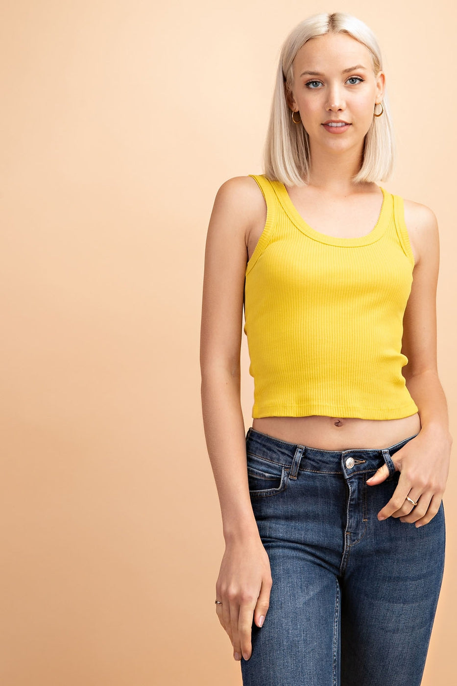 Novelty Ribbed Tank Top In Mustard Siin Bees
