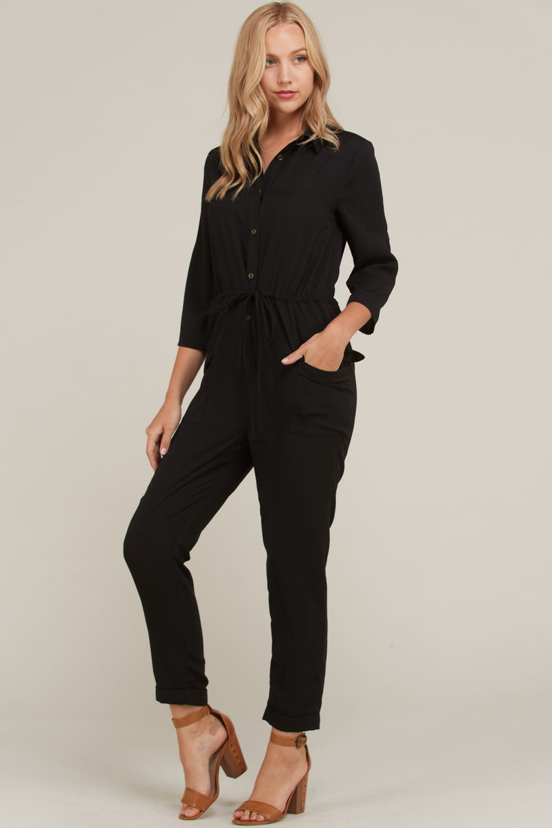 Eva Jumpsuit Button Down Drawstring With Pockets In Black Siin Bees