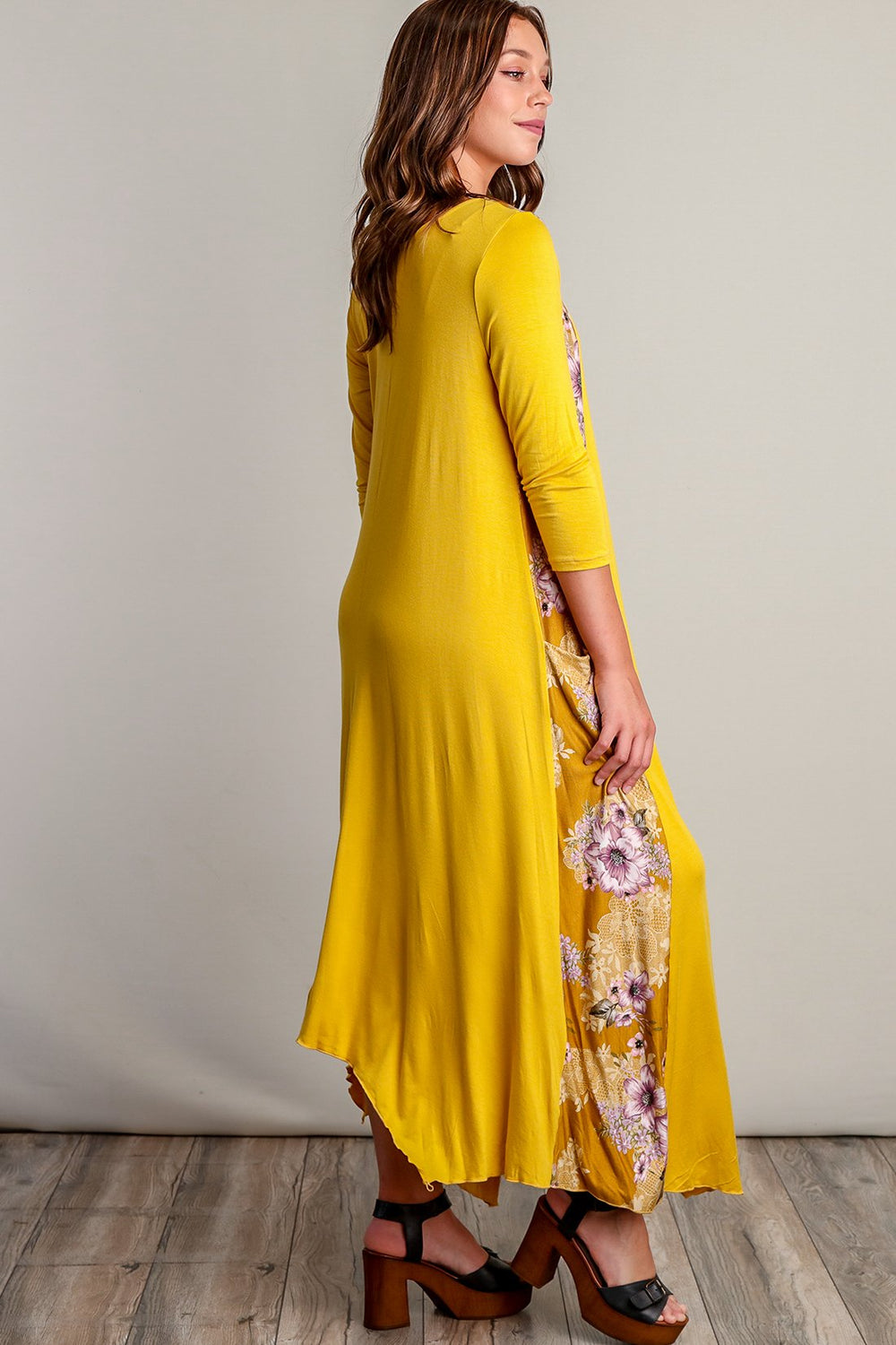 Lucia Mustard Floral Design Maxi Dress - Siin Bees