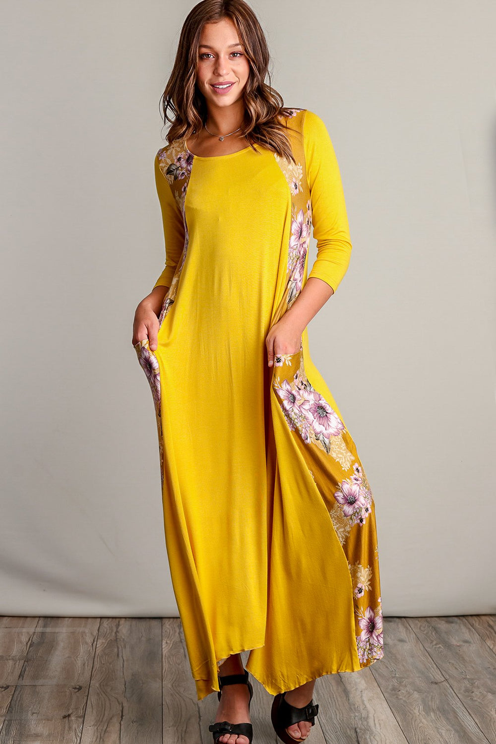 Lucia Mustard Floral Design Maxi Dress Siin Bees
