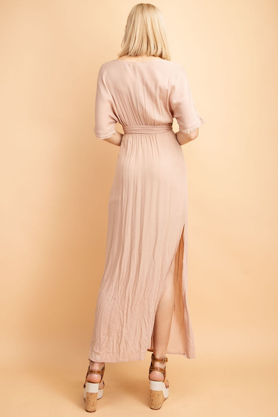 Front Tie Deep V Neck Half Sleeve Maxi Dress In Mauve Siin Bees