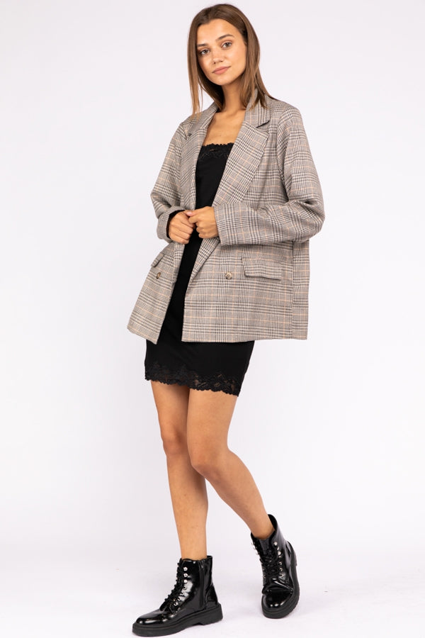 Double Breasted Plaid Blazer In Multi Siin Bees