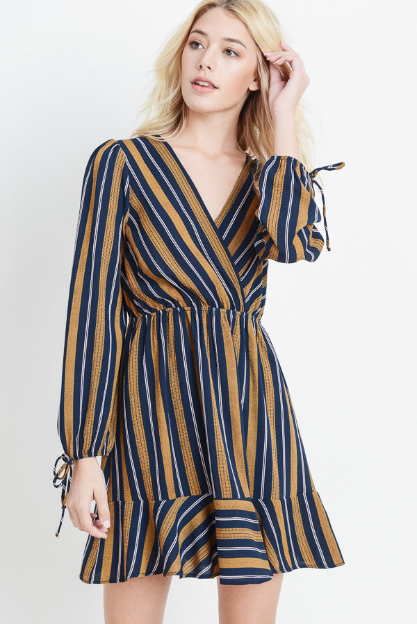 Striped Tie Sleeve Dress In Navy Siin Bees