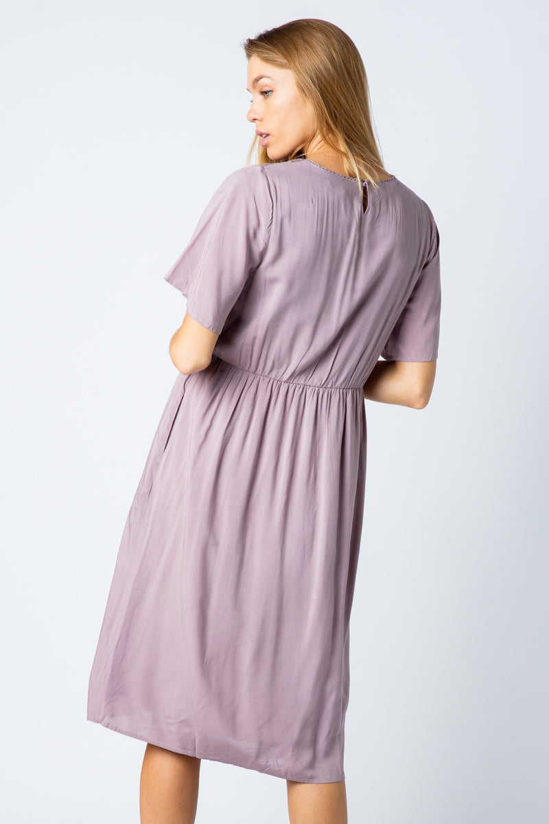 Juliana Lavender Midi Dress With Lace Detail Siin Bees