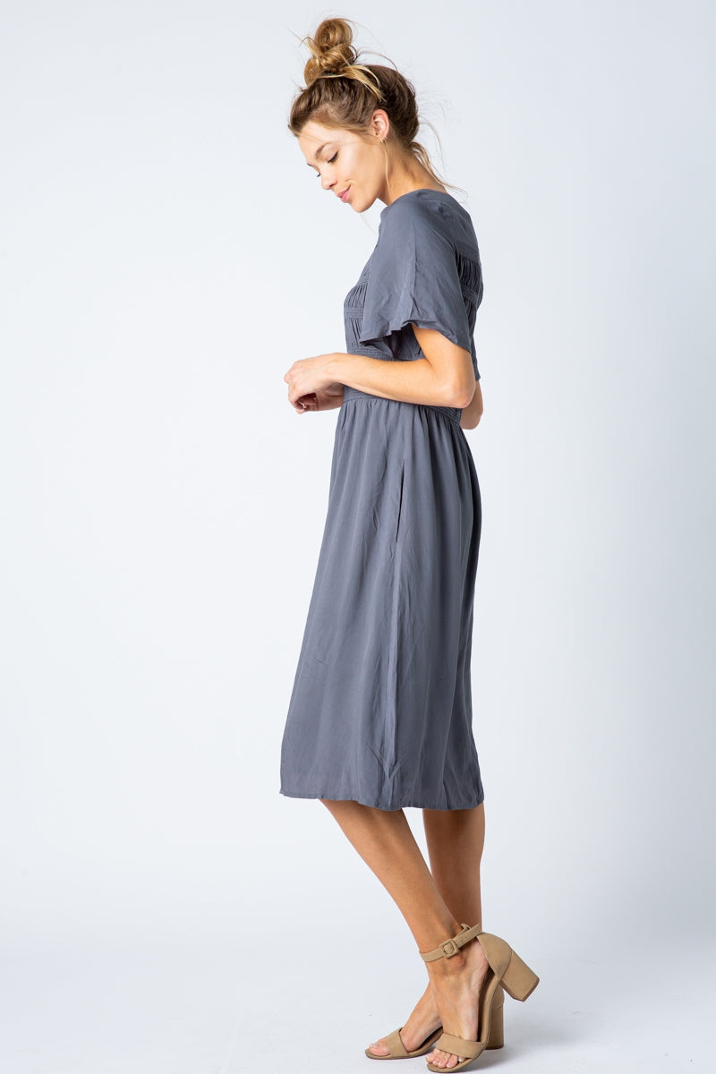 Melanie Midi Dress With Shirring Top Detail In Charcoal Siin Bees