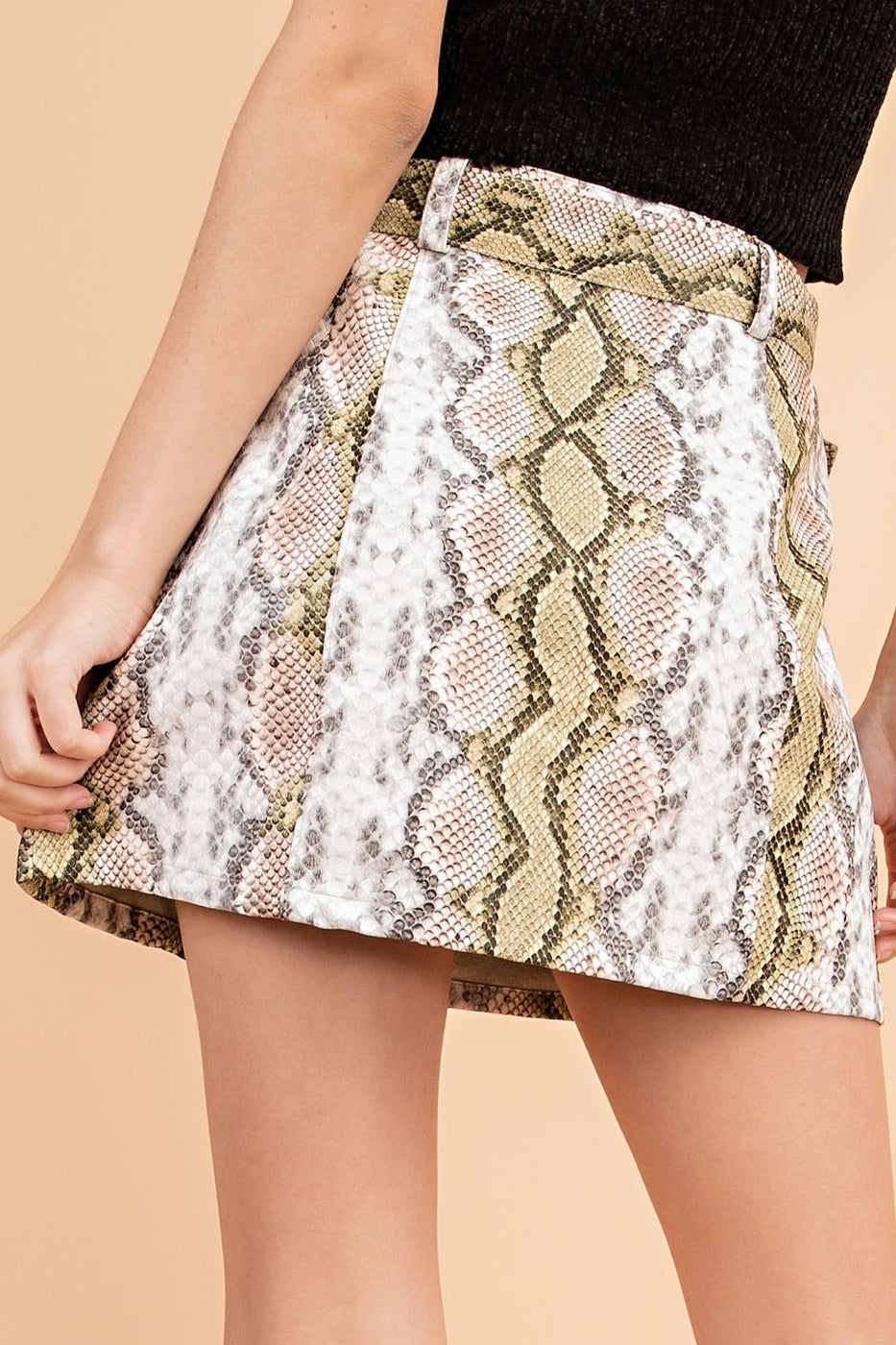 Mini Skirt With Snake Print Front Buckle In Brown-Multi Siin Bees