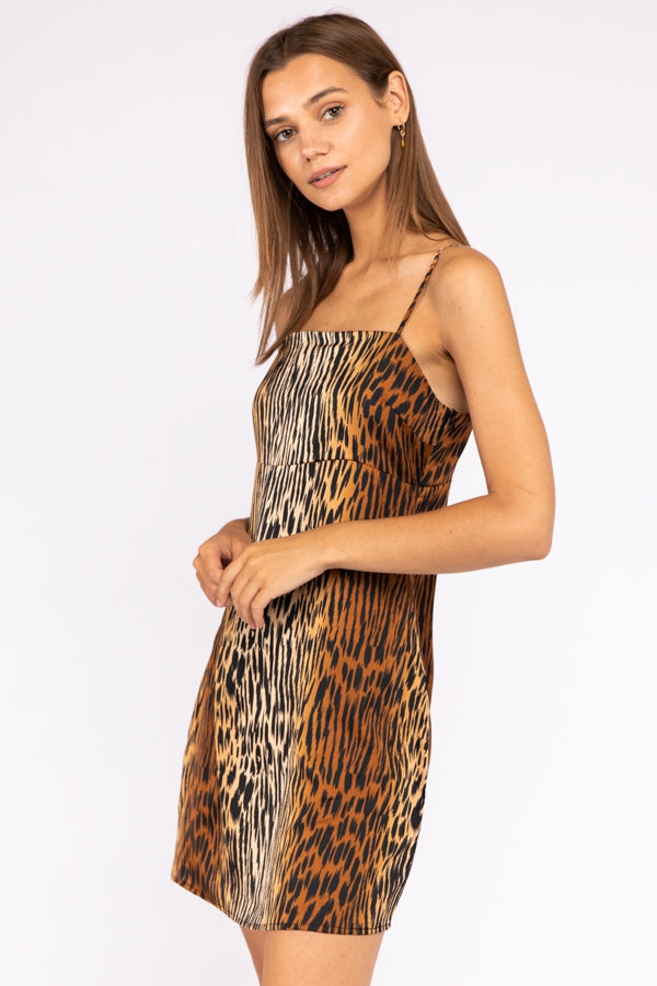 Spaghetti Strap Animal Print Slip Dress Siin Bees
