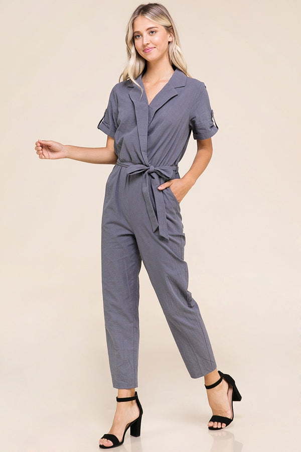 Braylee Short Sleeve Jumpsuit With Front Tie Siin Bees