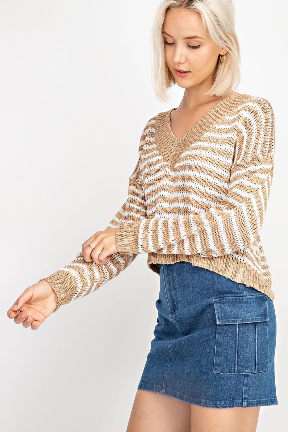 Long Sleeve Striped Sweater Siin Bees