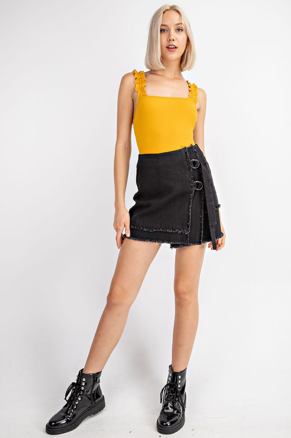 Denim Mini Skirt With Frayed Hem And Double Buckles Siin Bees