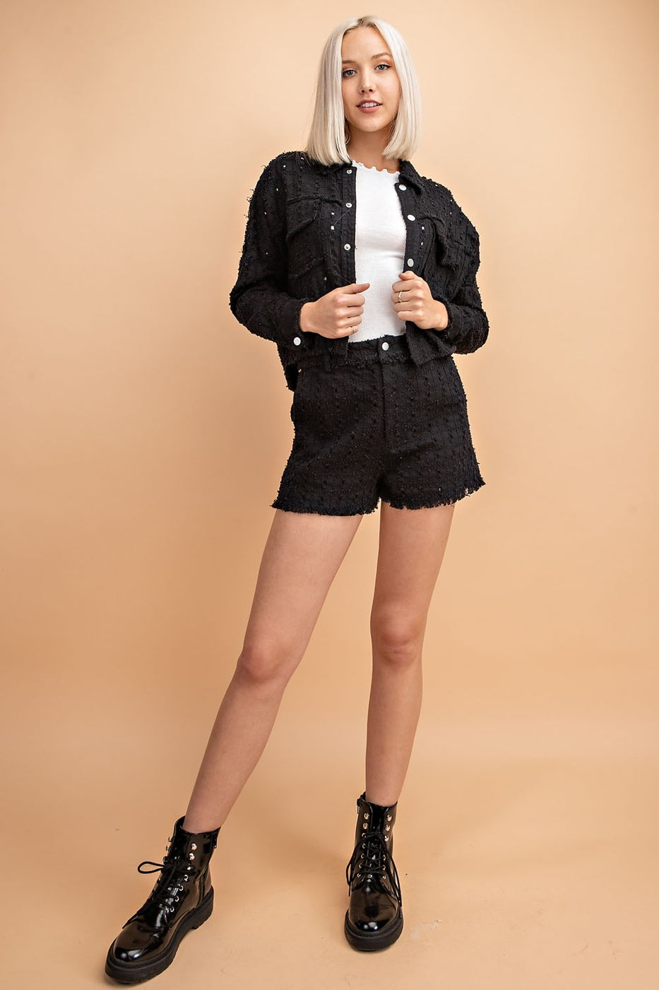 Cropped Eyelet Jacket With Pockets Siin Bees