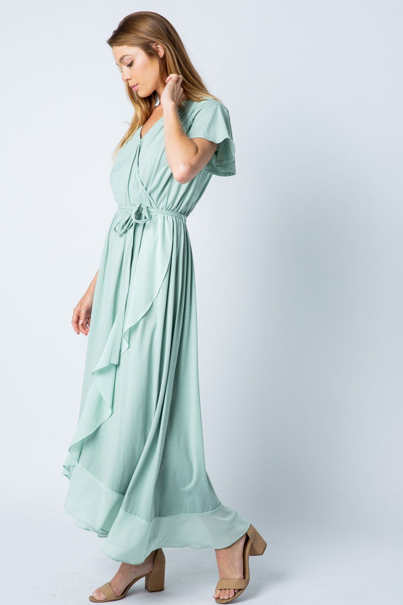 Alexia Maxi Dress Knit High Low With Surplice In Sage Siin Bees