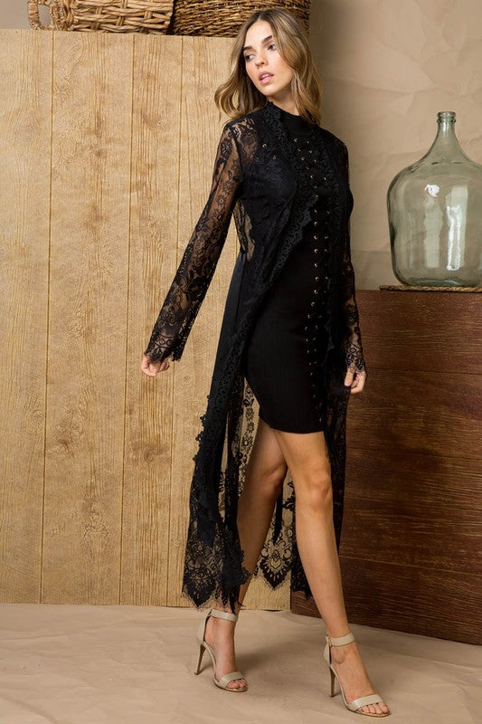 Lace Detail See Through Open Front Long Cardigan Jacket With Sleeve Siin Bees