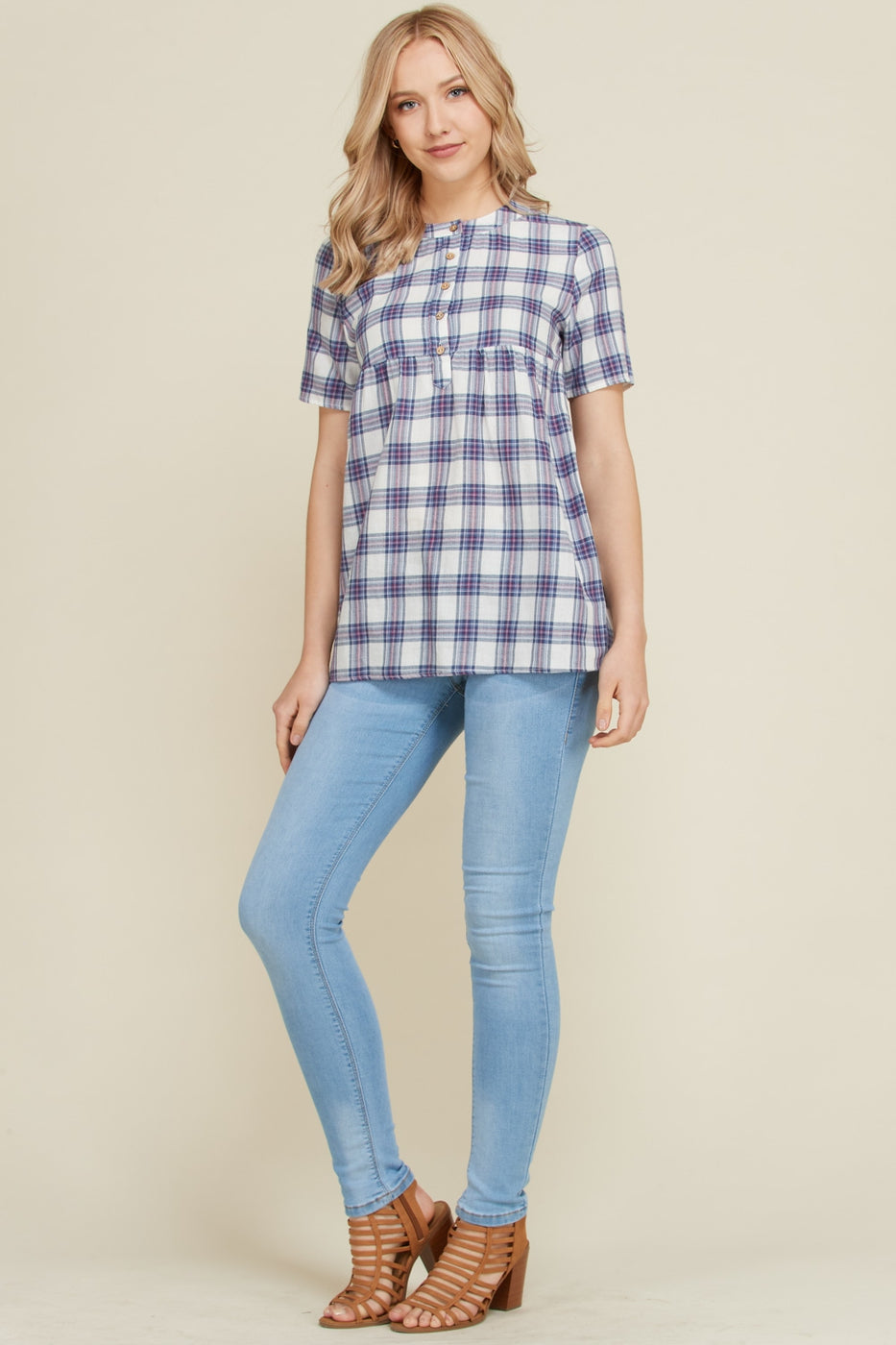 Navy Summer Flannel Blouse With Mock Neck Siin Bees