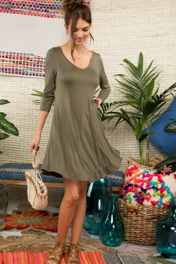 Anna 3/4 Sleeve Side Pocket Knit Dress Siin Bees